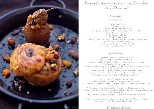Recette Pommes Poires farcies Sirop Rhum Café